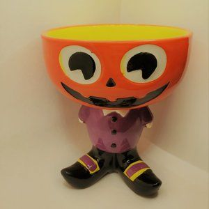 "Other - Halloween candy dish bowl ceramic decor 6"" pot"